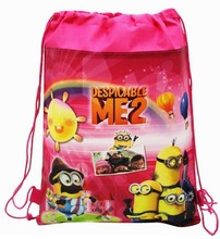 CM420 2015 new Despicable Me little yellow man drawstring beam port Non woven children school bags