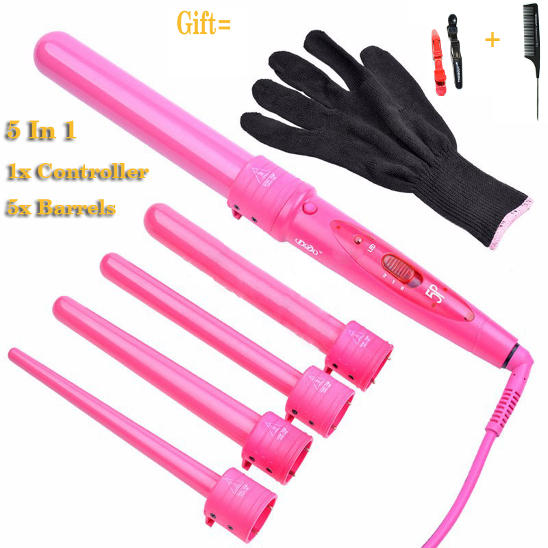 2015 New Arrival Hair Styling Tools Pro 5 In 1 Hair Curler ,Ceramic 5 Tubes Hair Wand P-5 In Black And Pink Color EU Plug<br><br>Aliexpress