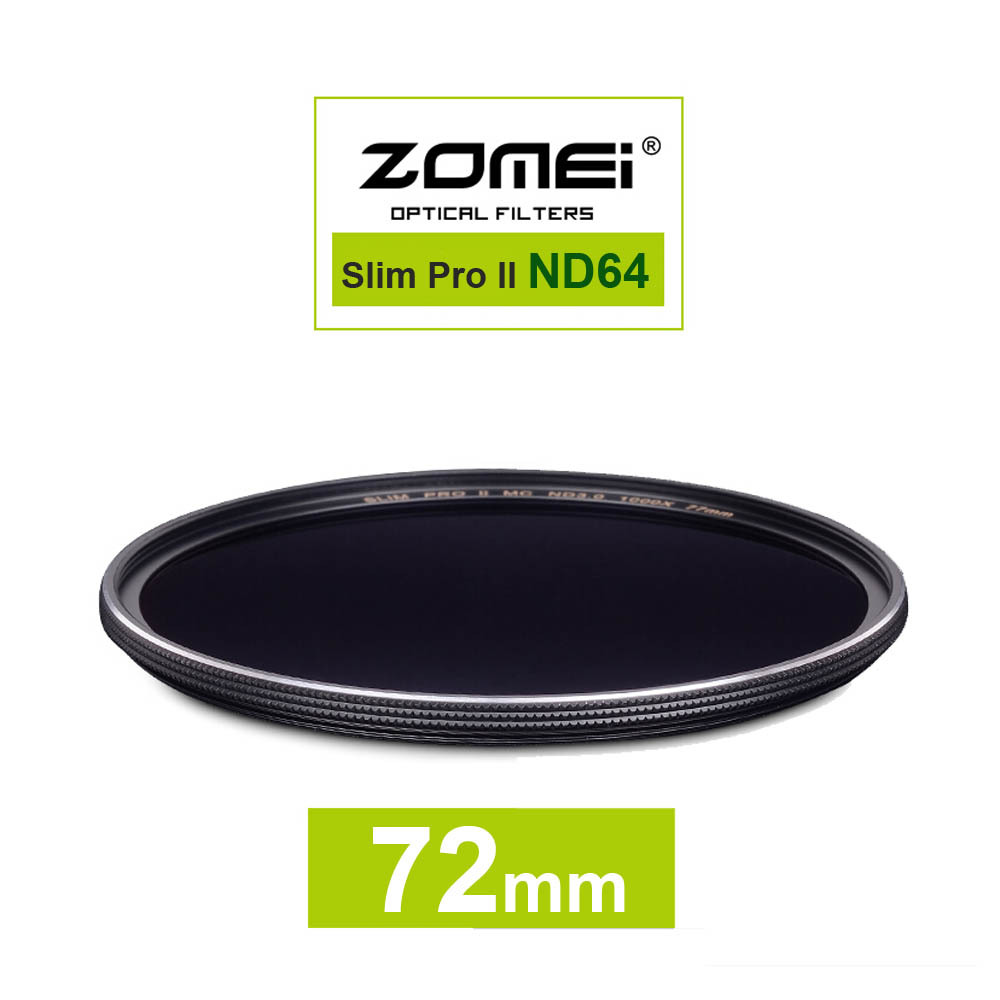 New Zomei 72mm Ultra Slim ND64 ND1.8 64X 6 Stop Exposure Sliver Rimmed Glass Neutral Density ND Filter for Canon Nikon Sony lens(China (Mainland))