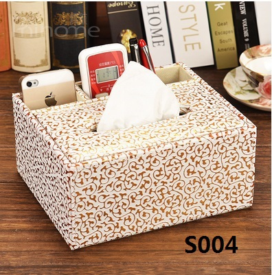 Free shipping sheepskin grain leather multifunction remote control tissue box storage box Desktop Continental pumping tray(China (Mainland))