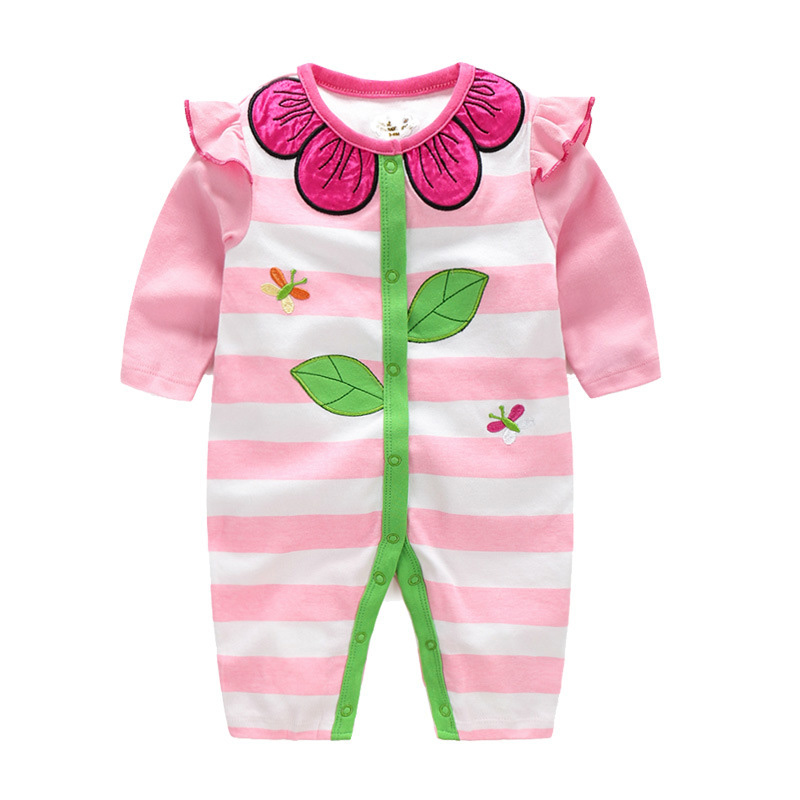 Baby girls romper body suits 2016 fashion flower girl baby rompers spring autumn brand butterfly prited girls jumpsuit romper(China (Mainland))