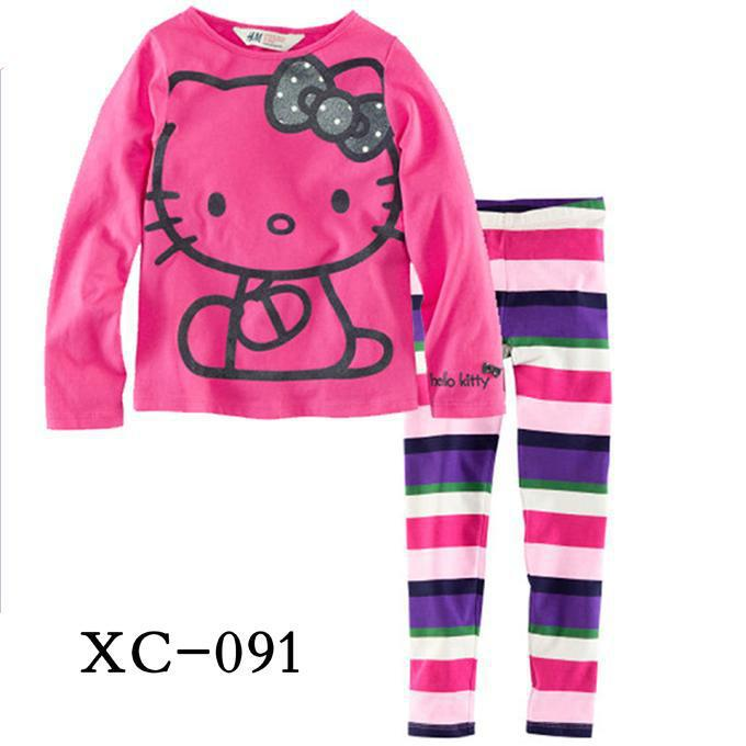 Wholesale Hello Kitty Children Long Sleeve Pajamas, Striped and Leopard Cartoon Clothing set baby Wear, Free shipping<br><br>Aliexpress