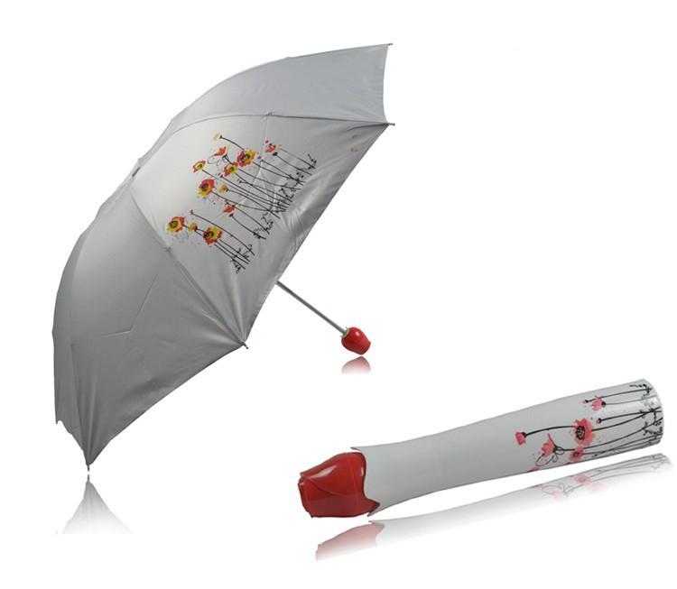 New Fashion Womens Umbrellas Creative Rose Vase Umbrella Gift For Women(China (Mainland))