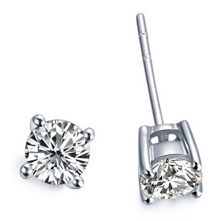 Genuine 14K White Gold 0.5Ct/Piece Round Cut Synthetic Diamond Stud Earrings Engagement Jewelry for Bridal Anniversary Party(China (Mainland))