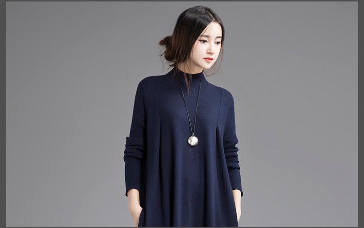 [XITAO] 2016 Original design art style elegant auutmn winter knitted loose long sleeved turtleneck women pullover sweater SYW001