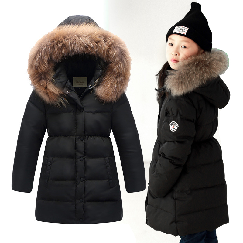 Winter Jacket For Girls 2015 Long Fur Collar Down Jackets For Girls Clothes Kids Coats Children Clothing Outwear Vetement Fille<br><br>Aliexpress
