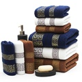 Jacquard 100 Cotton 3PCS Towels Set for Adults Home 1 pc Yarn Dyed Large Size Plaid