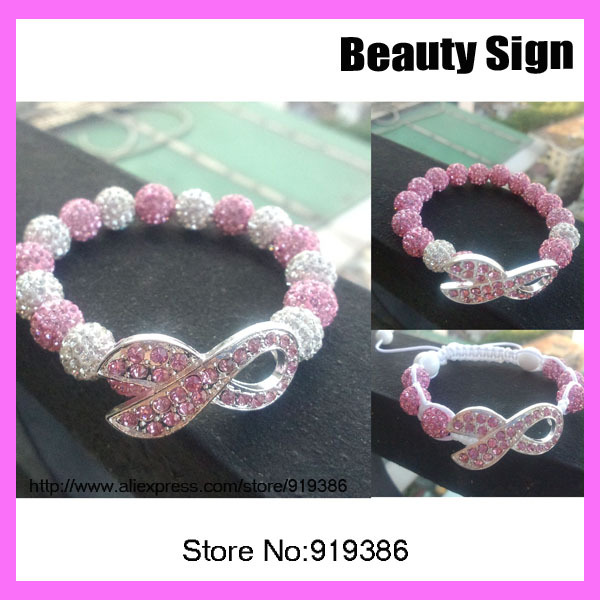 15pcs New products fashion pave ball white and pink Ribbon bracelet, breast cancer bracelet adjustable 3 styles(China (Mainland))