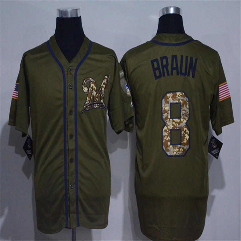 Mens #8 Ryan Braun #20 Jonathan Lucroy Salute To Service Jersey Color Army Green Fashion Jerseys(China (Mainland))