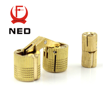 Brand NED 4PCS 14mm Copper Barrel Hinges Cylindrical  Hidden Cabinet Concealed Invisible Brass Hinges For Door Cabinet Etc(China (Mainland))