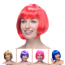 Freeshipping New Fashion Bob Wig colorful wigs Peruk Straight Hair Hot Sale Short party Wigs For Women Synthetic Fiber