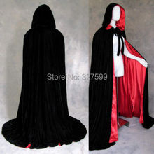 Free shipping New Black Velvet Lined in red Satin Cloak Gothic Wicca Robe Medieval Witchcraft Larp Cape wedding party Cosplay