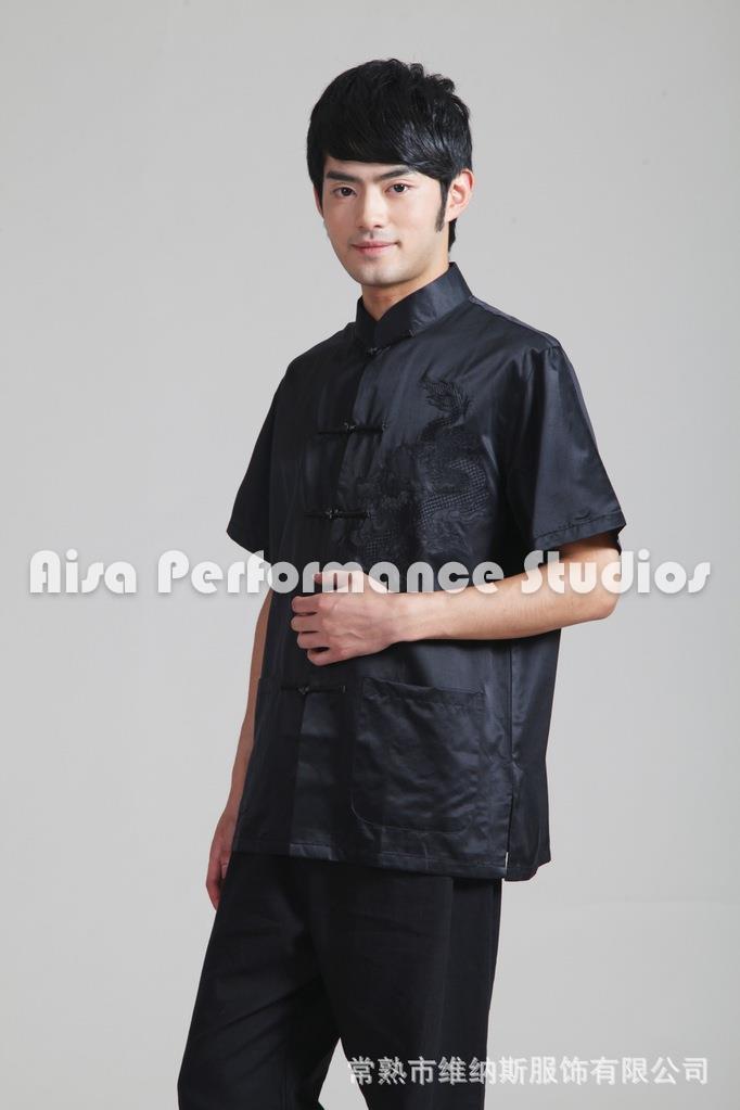 New Black Kung fu Uiform Chinese Traditional Clothing Shirt ForMen Summer Shirts Silk Satin Short Sleeve Dragon In Mens Shirts  Одежда и ак�е��уары<br><br><br>Aliexpress