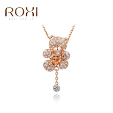ROXI Christmas Little Bear pendant necklace with heart Austrian crystals Rose Gold Plated hand made fashion
