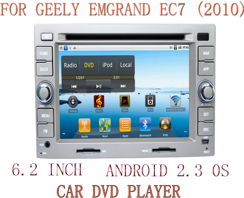 New Android 6.2 inch CAR DVD PLAYER car audio GPS Bluetooth iPod/iPhone AM/ FM Stereo For GEELY EMGRAND EC7 (2010)FREE SHIPPING(China (Mainland))