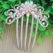 Exquisite Plastic Pearl 5 Tooth Overlapped Flower Hair Comb Crystal Rhinestone(China (Mainland))