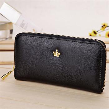 2016 New Women Ladies Wallets Soft Leather Wallet Crown Clutch Leather Bags Purse Popular Handbags Wallets Free J415