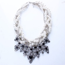 New Resin Imitation Pearl Knitted Choker Necklaces Resin Flower Necklaces & Pendants for Women Jewelry N25691