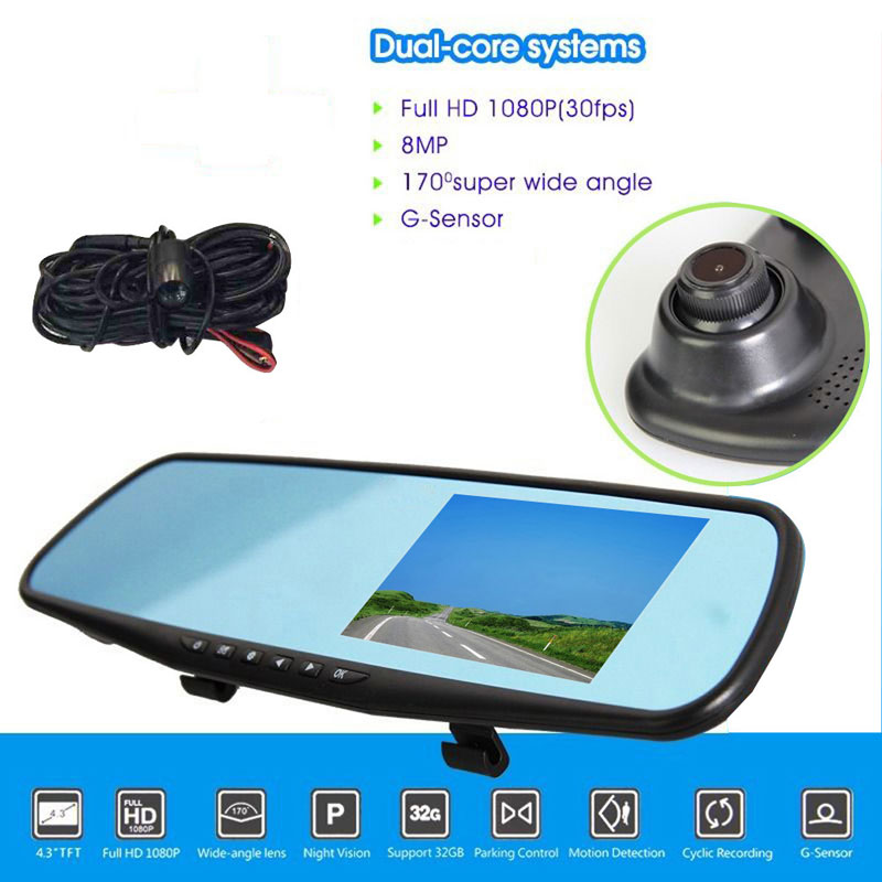 Dual Lens Car DVR Dash Camera Recorder 1080P LCD Screen In-Car Rearview Mirror 4.3 Monitor 170 Degree Wide View High Quality<br><br>Aliexpress