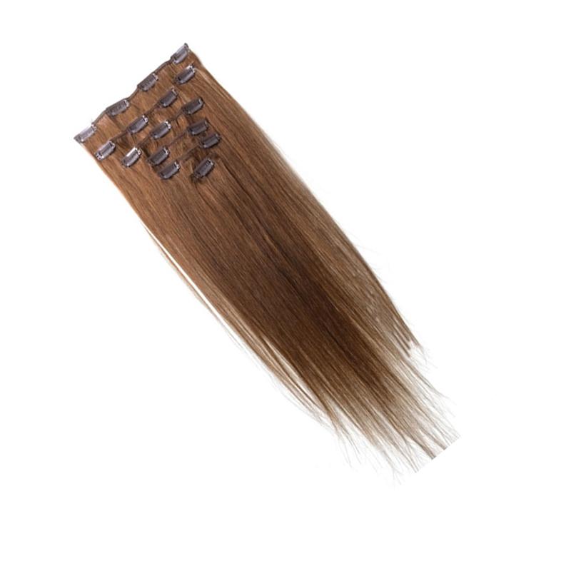 Best Sale Women Human Hair Clip In Hair Extensions 7pcs 70g 15inch Light-brown