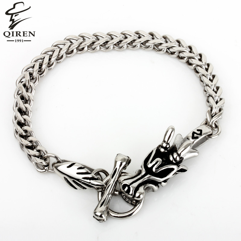 2016 New Mens Dragon Clasp Silver Stainless Steel Fashion Chain Bracelet(China (Mainland))