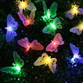 Christmas Led Outdoor Solar String Lights 12 LEDs Multi Color Fiber Optic Butterfly Light Decorative Lighting