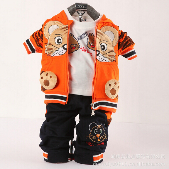 2015 new children's Tiger clothing sets baby kids boys and girls three-piece(jacket+long pant+shirt) suits for 0-3T(China (Mainland))