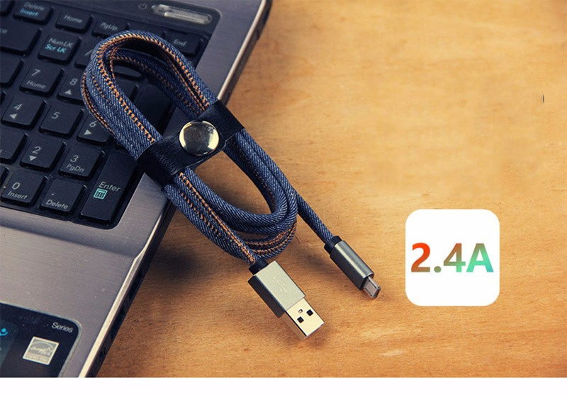 Fashion Icon Coll Metal Connector Denim Braided Cable for iPhone Lighting Android MacroUSB Type-C Charging Data Sync Cable
