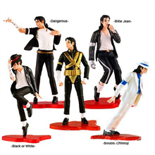 Free Shipping MJ Michael Jackson PVC Action Figure Model Collection Toy Doll 5pes 8-11cm()
