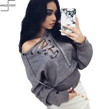 New Autumn Lace Up knitted winter sweater women Solid Knitted Pullover O Neck Sweater Women(China (Mainland))