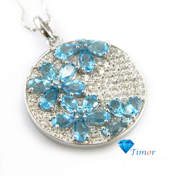 Wholesale Romantic Design Fairy Fine Jewelry Women Natural Swiss Blue Topaz Necklaces Pendants 925 Sterling Silver Free Shipping