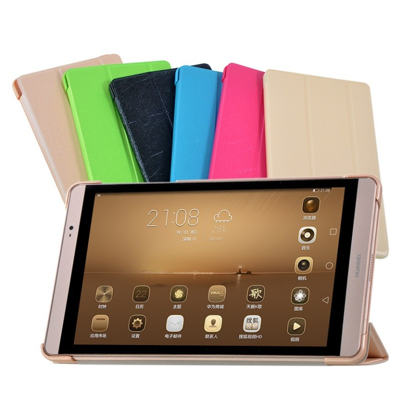 Ultra Slim PU Leather cover case for 8 inch Huawei MediaPad M2 8.0 & M2-801W/803L Tablet + 2 x Screen Protector Film(China (Mainland))