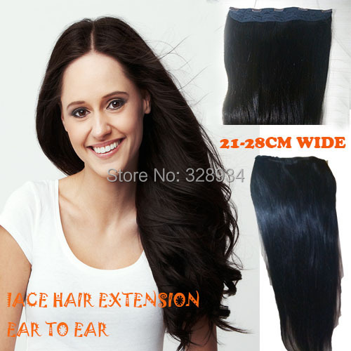 Фотография 28cm wide lace hair extension one piece with 5 clips on straight Brazlian ear to ear clip in hair extensions