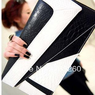 newest designer Sell Hot!Serpentine Pattern Envelope Clutch Bag Black Faux Leather Evening Bag Shoulder Bags For Women CHB-016(China (Mainland))