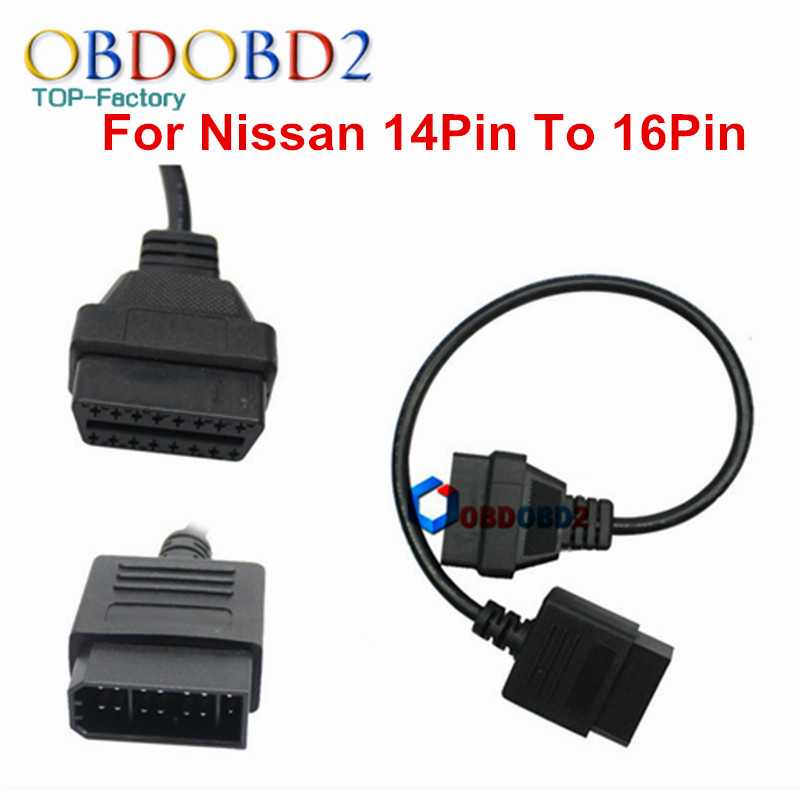 Nissan 14 Pin 16Pin Cable OBDII Diagnostic Interface Nissan 14Pin OBD2 16 Pin Adapter Works Nissan Vehicles