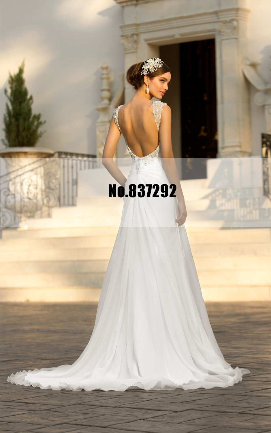 Backless sexy wedding dresses cap sleeves plus size for Sexy plus size wedding dresses
