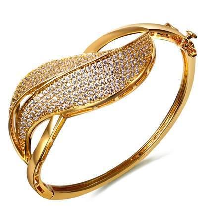 Mansaku Women's Top AAA CZ Prong Setting Cute Bangle Bracelet Lead Free 18K Gold Plating Bridal Wedding Jewelry dress evening(China (Mainland))