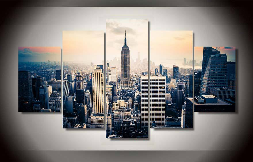 Framed printed new york city painting on canvas room for Large prints for sale