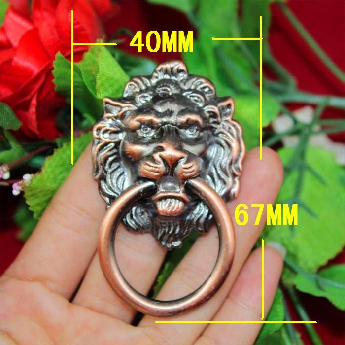 67*40*15mm 5pcs brass furniture hardware lion head kitchen cabinet pulls wooden box drawer wardrobe handles vintage door knobs(China (Mainland))
