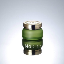 50G  green glass bottle with golden lid, glass lotion bottle, press pump bottle