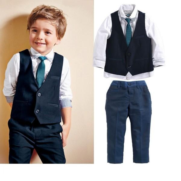 baby boy clothing set summer style kids Suits shirts +Waistcoat + Necktie+ Pants 4pcs children boys clothing suit QY-325(China (Mainland))