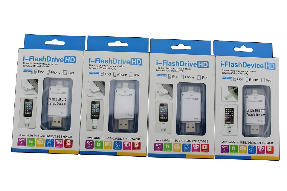 i Flash Drive HD USB Flash Drive 100% 64gb Phone OTG for iphone 6/6S/5/ipad/ipod 8gb 16gb 32gb pen drive istick 50pcs/lot(China (Mainland))