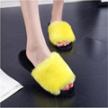 Women Sandals High Quality Flat with Platform Soft Sweet Solid Women Fur Slides Sandals Pink Red