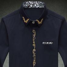 men shirt M- 7xl Slim solid color embroidery long sleeve shirts cotton shirt mens casual dress shirts 6xl 5xl 4xl camisas hombre(China (Mainland))