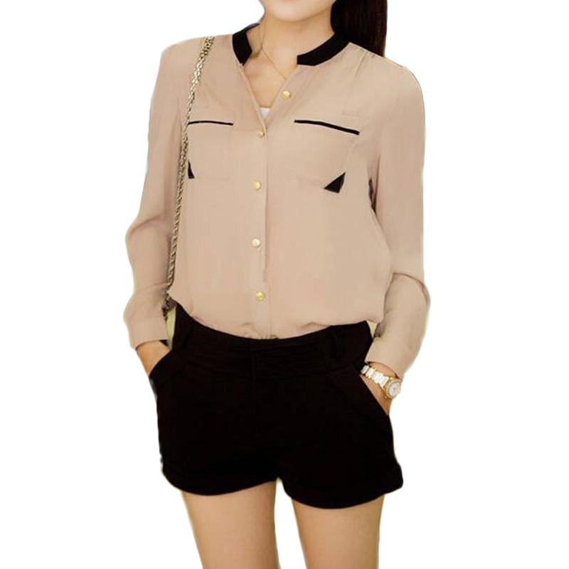 2015 stand collar women chiffon blouse autumn patchwork for Stand collar shirt womens