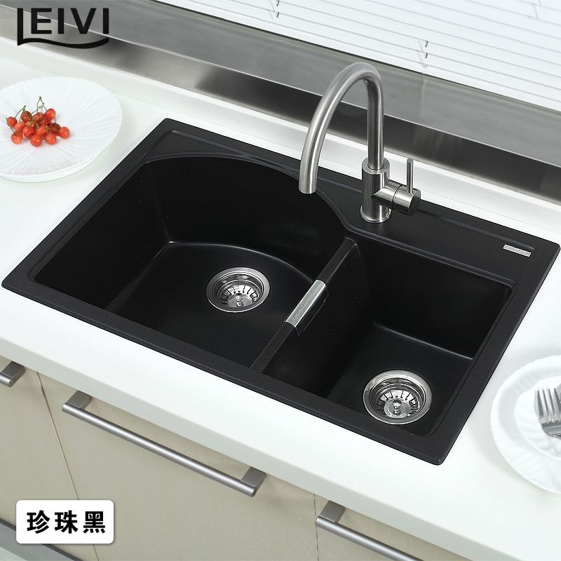 Quartz Stone Kitchen Sink : Leivi-quartz-stone-kitchen-sink-slot-pool-vegetables-basin-bundle ...