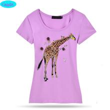 Hot!New arrive fashion style hand-beaded Hot fix rhinestone teens girls t-shirt Lifelike giraffe tshirt for girl tops DZ9