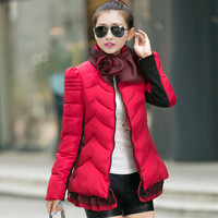 Women brand new jacket 2015 autumn winters cotton-padded jackets  lace  thick warm coat,free shipping
