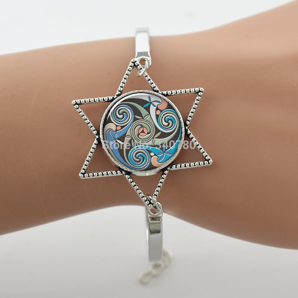 New style! Colorful Celtic Triskelion art bangle,geometry bracelet,glass cabochon dome,hexagon jewelry ,firend gift G065.(China (Mainland))