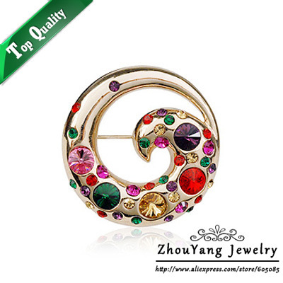ZYX006 Elegant Colorful Phoenix 18K Champagne Gold Plated Fire Bird  Brooches Jewelry Austrian Crystal  Wholesale
